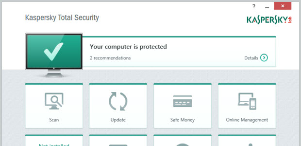 Dashboard of the Kaspersky Total Security Software package.